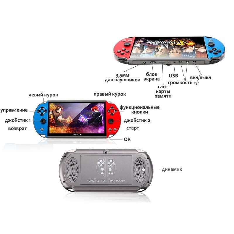 Игровая консоль X12 Plus с 7-дюймовым экраном, памятью 16 ГБ, встроенными 1000 игр