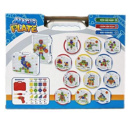 Конструктор-мозаика с шуруповертом Magic Plate puzzle 144 детали