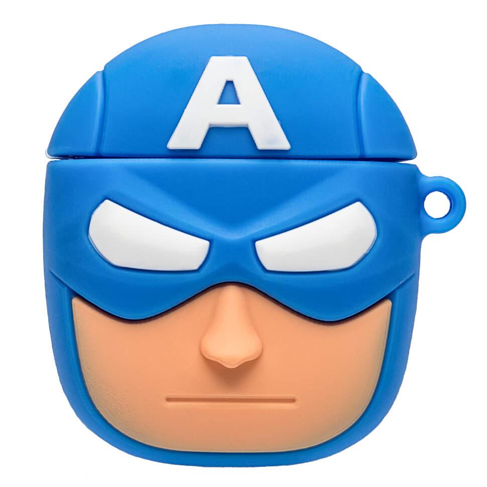 Супергеройский чехол 3 D для наушников силиконовый Капитан Америка