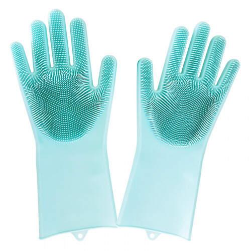 Многофункциональные силиконовые перчатки-щетки