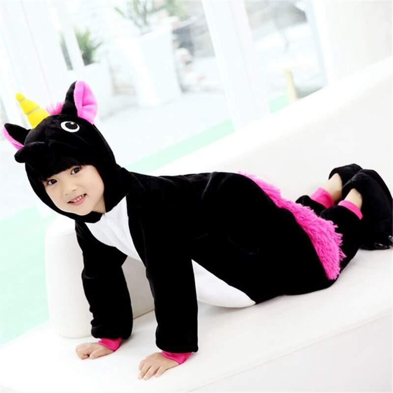 Детская Пижама Кигуруми Единорог Черный