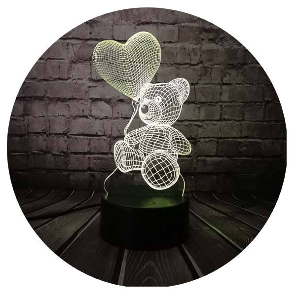 3D светильник Мишка с шариком