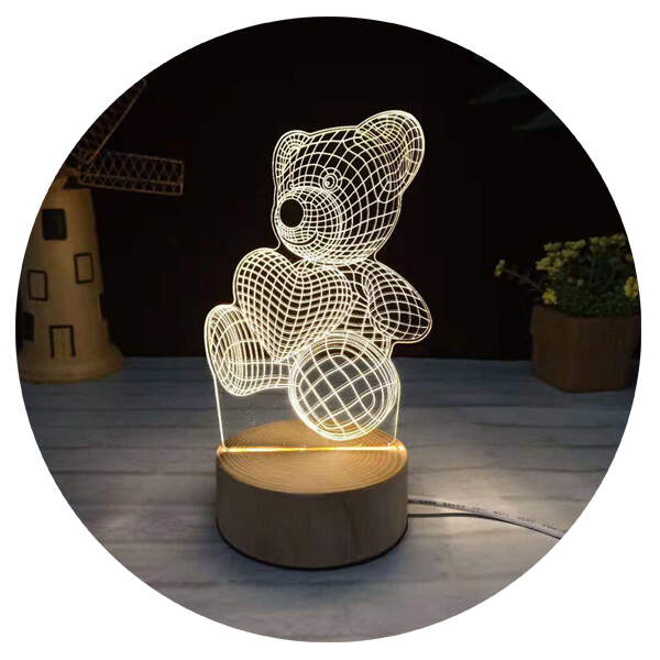 3D светильник Мишка с сердечком