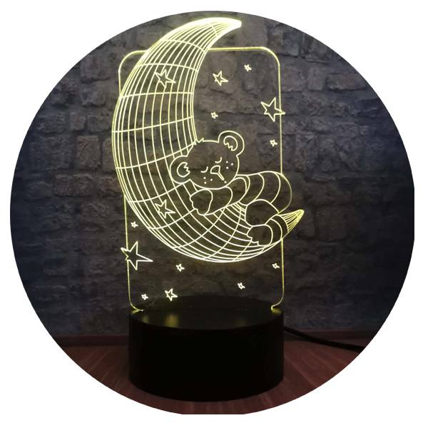 3D светильник Мишка на луне