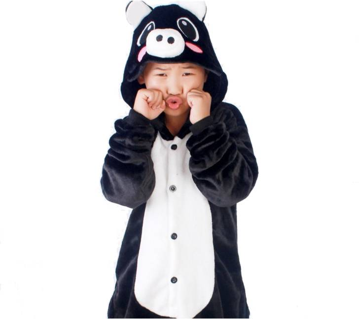 Детская Пижама Кигуруми Свинка Черная
