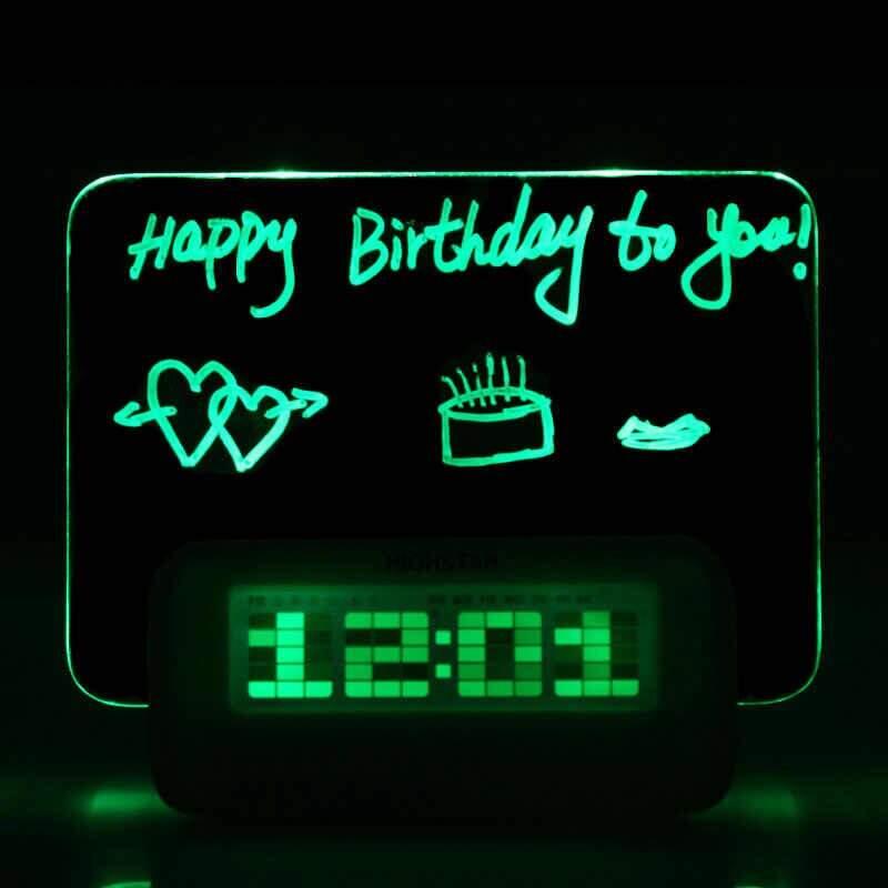 Светящийся Led будильник с доской для записи с USB и хабом Highstar