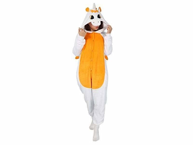 Пижама Кигуруми Единорог (Бело-оранжевый)