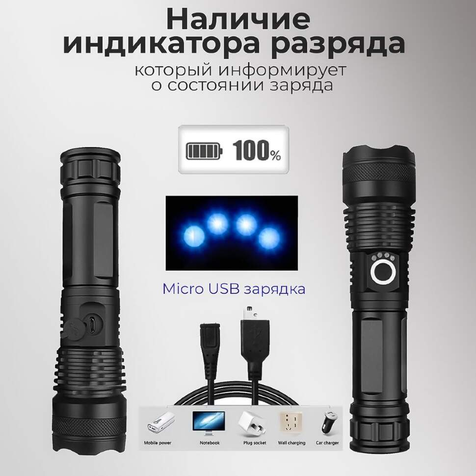 Фонарь светодиодный POLICE YYC-X71-P50 аккумуляторный с фокусировкой