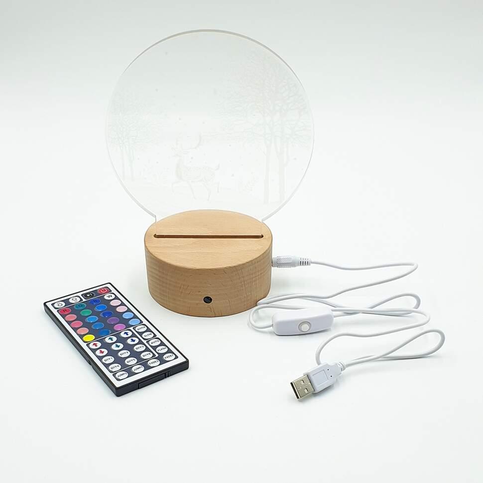 3D светильник Олень в лесу с пультом управления