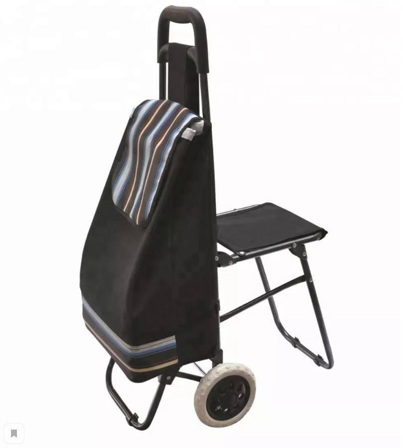 Сумка-тележка с откидным сиденьем на колесах