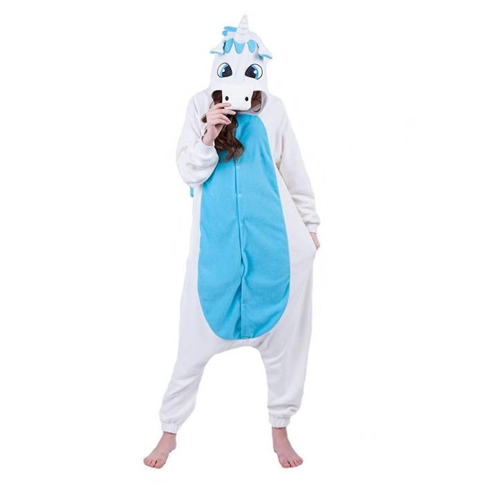 Пижама Кигуруми Единорог Бело-голубой