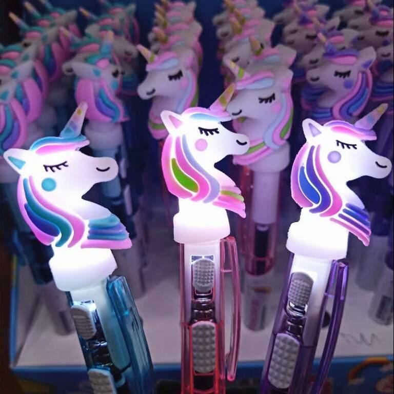 Шариковая ручка Радужный Единорог с подсветкой