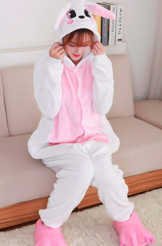 Пижама Кигуруми Кролик Бело-розовый