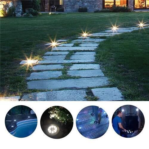 Садовые светильники на солнечной батарее (2 шт.) с 4-я светодиодами