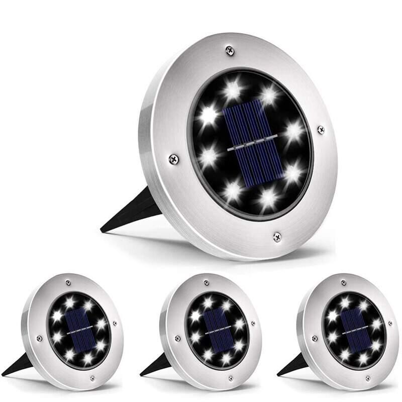 Садовые светильники на солнечной батарее (2 шт.) с 8-ю светодиодами
