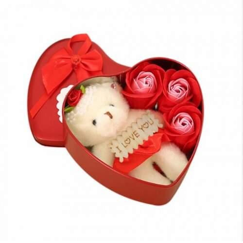 Подарок для девушки Медвежонок + 3 розы