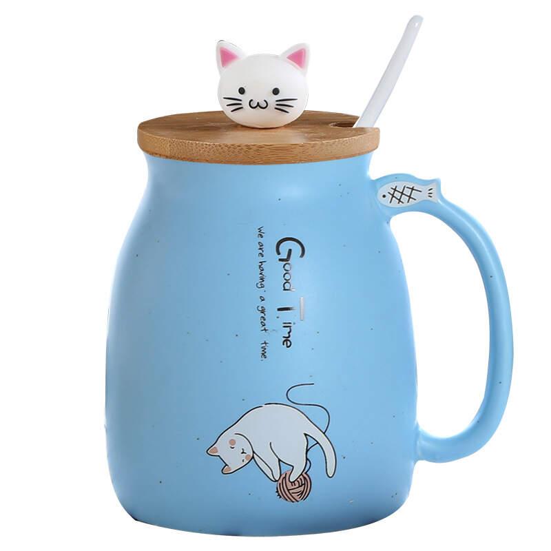 Кружка Good Time (голубой) с котенком