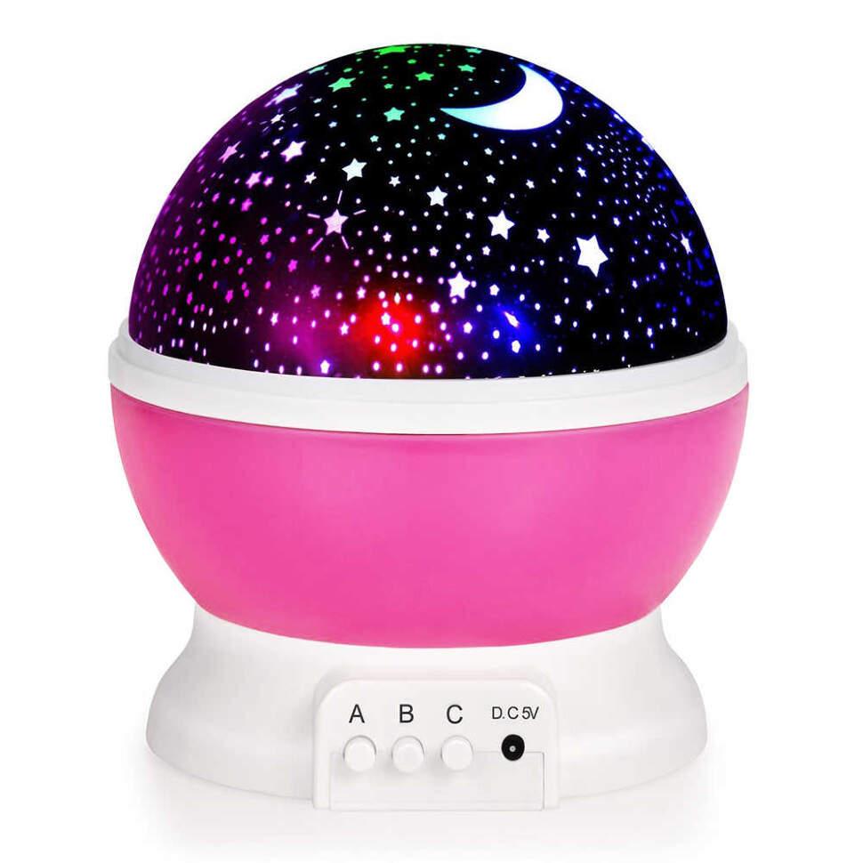 """NCH-021 Ночник-проектор """"Star Master"""" вращающейся с USB-кабелем Розовый"""