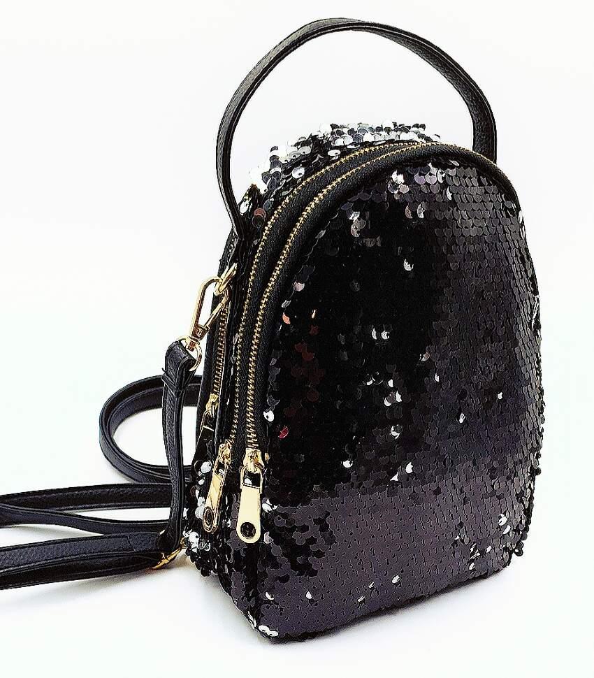 Рюкзак с Пайетками, меняющий цвет (черный - серебро)