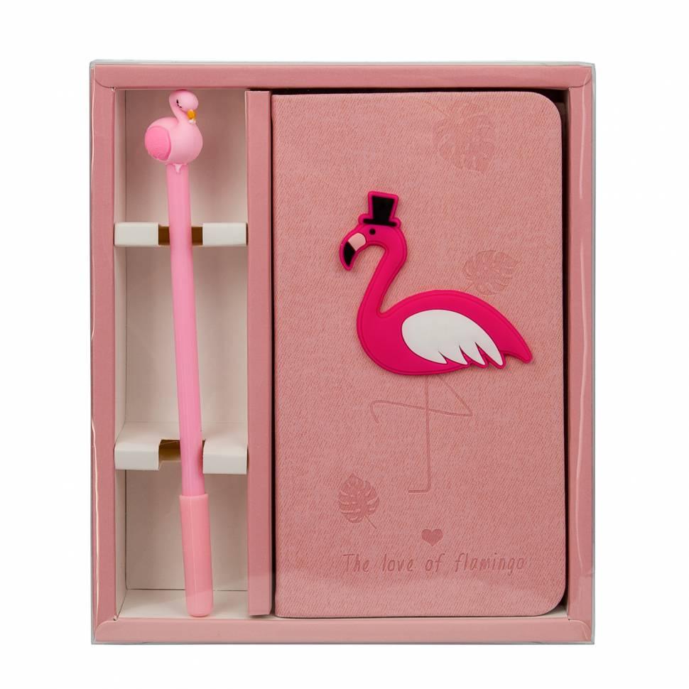 Блокнот Фламинго с ручкой
