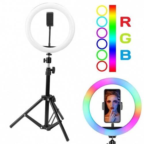 Кольцевая лампа цветная со штативом RGB